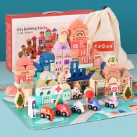 Mainan Anak Balok Kayu 133 pc /Ozm Toys Urban Transport Building Block