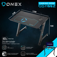 "ONEX GD1100Z Gaming Desk Meja 43"", Mousepad, Holder, Z Leg"
