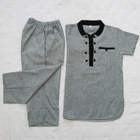 baju Koko anak setelan/kurta laki-laki - Abu-abu, 3-4 tahun