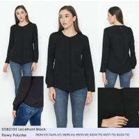 SOliver 2103 LACEFRONT BLACK Top Baju Atasan Blouse Wanita Branded