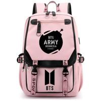 Tas Ransel BTS Army Pink/Ransel Sekolah SD SMP/Ransel Remaja Trendy