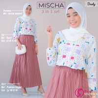 Baju Setelan Muslim Dewasa/Remaja Atasan & Rok Mischa 3in1 Set