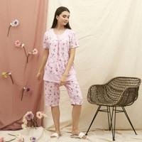 Baju Tidur Piyama Wanita GREET Kaos katun Celana 3per4 (BD)