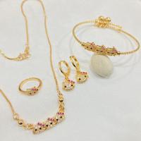 Set Perhiasan Anak Kalung Gelang Cincin Anting Lapis Emas Permata - 1 SET