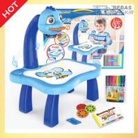 Mainan Anak Painting Learning Projector Meja Menggambar Dengan Musik - Biru