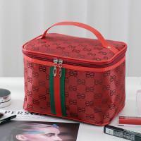 Tas Kosmetik Multifungsi Tas Makeup Travel Bag Garis Hijau Merah