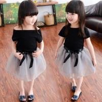 Korea Pita Setelan Rok Tutu Anak Perempuan Satu Set Baju Pesta