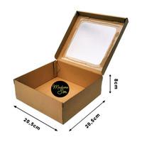 KOTAK KUE - CAKE BOX - DUS BOLU 20 x 20 x 8 CM - JENDELA