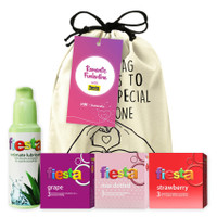 Joy Kit Romantic Slide - Paket Lubricant dan Kondom Fiesta