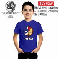 Kaos Baju Anak MARVEL CIVIL WAR Team IRON MAN CAPTAIN AMERIKA - XS