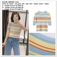 AB856582 Baju Atasan Rajut Wanita Rainbow Blouse Garis Korea Import