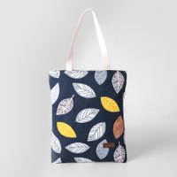 Pamole - Tote Bag Bahan Kanvas Motif Penutup Resleting - Navy Leaf
