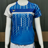 baju kaos badminton cewek V-3042 B biru