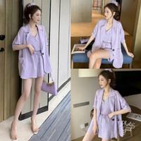Setelan 3in1 Wanita Blazer Outer + Inner Top + Celana Pendek Lilac QQ