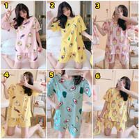 Baju Tidur Piyama Wanita Murah / Setelan Piyama Kaos Impor HP
