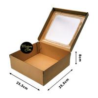 KOTAK KUE - CAKE BOX - DUS BOLU 25 x 25 x 8 CM - JENDELA