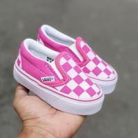 Sepatu Anak Anak Vans Slip On Motif Catur Pink 21-30