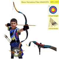 BUSUR PANAH HORSEBOW ANAK FIBER EFG + FACE TARGET + ARROW | TK SD SMP
