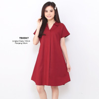 A Line Mini Dress Wanita Katun Rami Linen fit to XL TBSD3