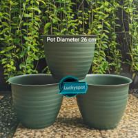 Pot Tanaman Bunga motif Tawon Diameter 26 cm warna hijau lumut.