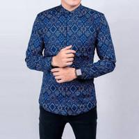 Baju Kemeja Pria Batik Songket Diamond Modern Slimfit Casual BIRU blue - Biru, L