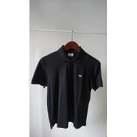 Polo shirt lacoste size 5 hitam slim fit lengan pendek