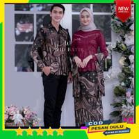 Batik Couple Kebaya brokat pasangan baju pesta kondangan wanita muslim