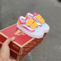 Sepatu anak vans oldskool multicolor grey yellow pink 20 - 35