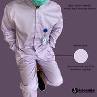 Baju Stenen Kancing Baju Jaga Malam Seragam Medis Baju Perawat Lilac
