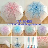 Payung Tongkat Transparan NA005EE Motif Bunga Sakura Jepang Korea