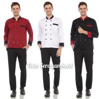 Baju chef seragam chef kombinasi - Merah, M