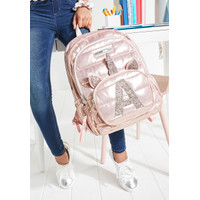 Justice Girls Rose Gold Quilted Unicorn Initial Backpack Gold