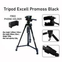 TRIPOD EXCELL PROMOSS BLACK BONUS TAS PHONE HOLDER PROMOS CAMERA