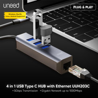 UNEED USB Type C HUB to USB 3.0 + Gigabit Ethernet RJ45 - UUH203C