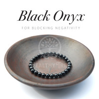 Gelang Batu Kristal Black Onyx Grade AA (HIGH QUALITY)