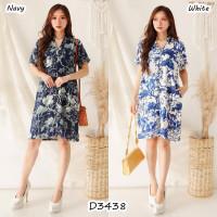Mini Dress Rayon Motif Wanita Busui Friendly Lengan Pendek D3438