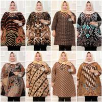 Atasan Baju Tunik Batik Wanita Cewe Super Jumbo Big Size LD 140 Murah