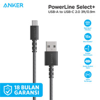 Kabel Charger Anker Powerline Select+ USB-A to USB-C Black - A8022
