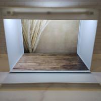 Box studio foto ukuran 45x32cm - paket dengan alas foto motif padi