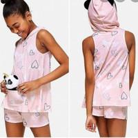 Justice girl terusan panda hoodie topi love preloved