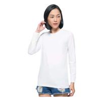 Manset Kaos /Panjang dalaman baju (M)/mangset wanita muslimah - LEHER U PUTIH, M