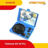 Kodenki Holesaw Kit Hole Saw Kit Mata Bor Kayu PVC Paralon Set 16pcs