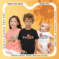 Custom Kaos Anak Desain Bebas Kaos Ultah/Kartun Sablon DTG - Putih, 0 (1-2 thn)