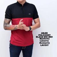 Kaos Polo Shirt Pria   Baju Cowok Polo Kerah Mix Shanghai Hitam Maroon