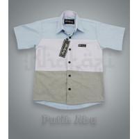 Kemeja Kombinasi Warna Anak Premium - Kemeja Anak - Kemeja Murah - Putih Abu, 8