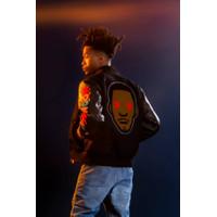 Bape x Kid Cudi Baby Milo Moon Man Varsity Leather Jacket