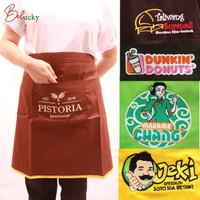 Celemek Apron Setengah Badan Custom Bordir Logo dan Nama Apron Waiters