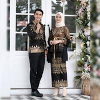 Couple Anjani Batik Prada Baju Kondangan Muslim Modern Kebaya Brokat