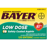 Bayer Aspirin Regimen Low Dose 81 mg 120 Tablets - ORIGINAL USA