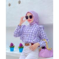 UNA TOP - Kemeja Atasan Wanita Lengan Panjang Ruffle Lilac Import
